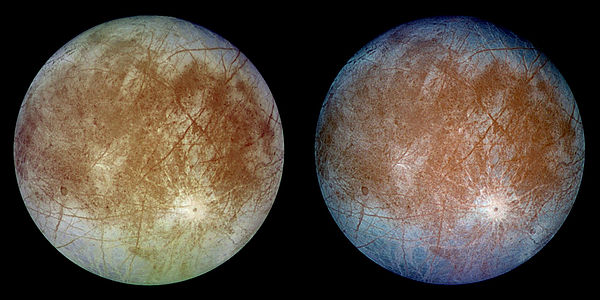 Two halves of Europa showing to sides of the moon
