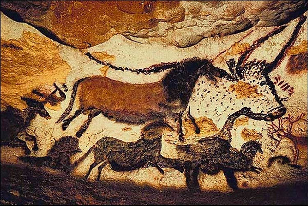 Ancient painting on a cave wall.