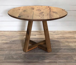 New for us design!  Top is made from oak tractor trailer flooring and the base is made from reclaime