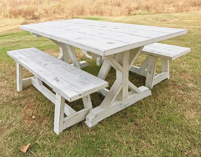 Distressed white and weathered gray fancy x table finished and ready to go! #pictureoftheday #like4l