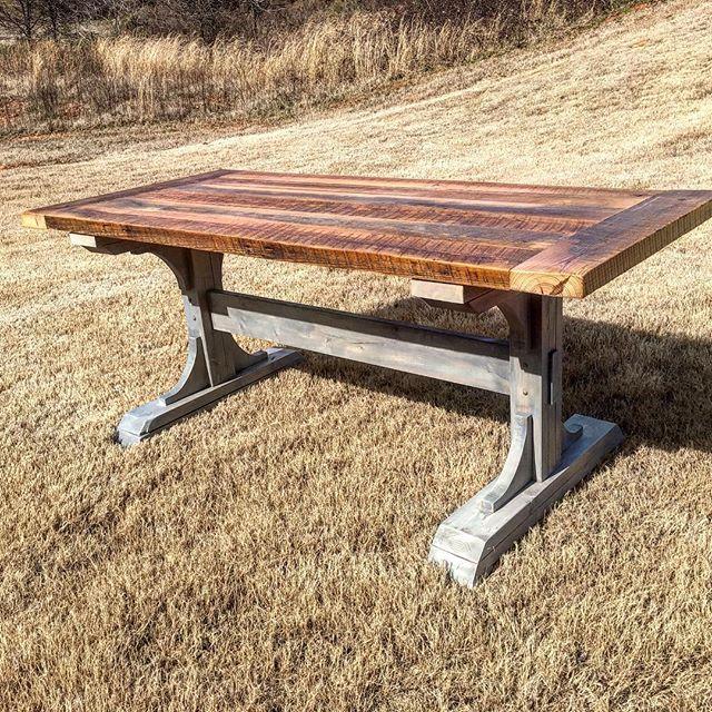 Barnwood pedestal table