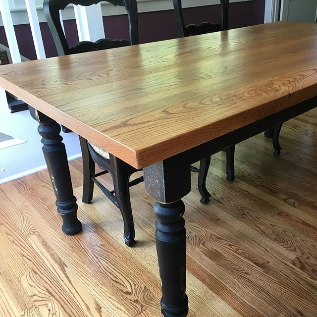 The Asheville table in its home. That 2 inch oak top came out so nice. I really do love working with