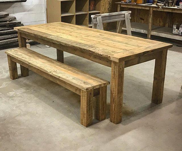 Barnwood 4 post table
