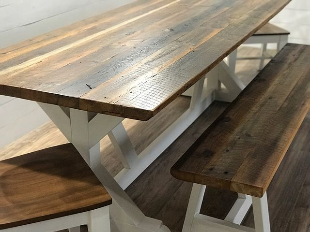 And the #reclaimedwood table is done!  Look at how close #generalfinishes antique walnut matches to