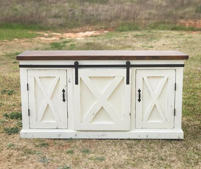 Barn door console finished with antique walnut and white ash distressed