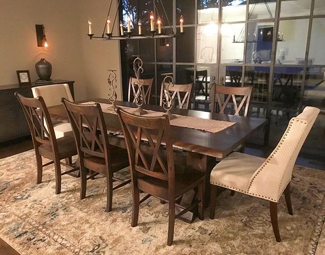 Love this customer photo!! Post and beam in java with double x chairs