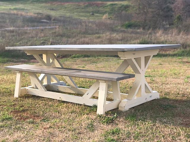 Taking photos right before sunset. 🌅Ahhhh, no editing necessary. X style table with driftwood gray