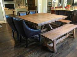 Customer appreciation photo. We love this table!! Square oak Ferguson x table finished with antique