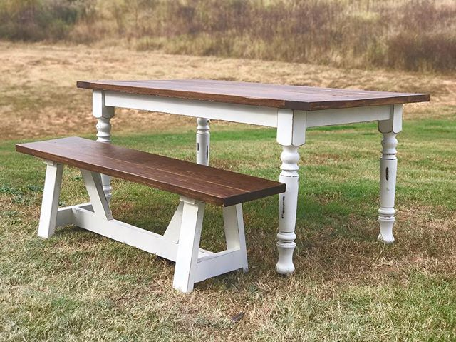 Turned leg farmhouse table leaving today, antique walnut and white ash