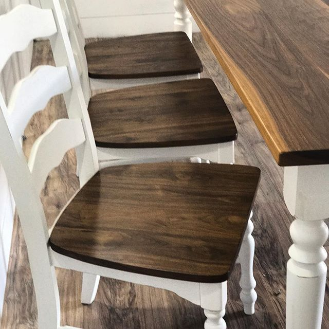 Black walnut chairs and table top with the turned farmhouse legs I posted the other day.  There is n