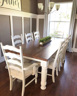 Chunky farmhouse table and upholstered l