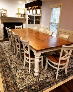 Such a Huge table!  10x4 with 10 chairs!  #woodworking #woodwork #diningtable