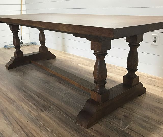 🙌 Our new hand turned double pedestal table, solid oak, _generalfinishes antique walnut