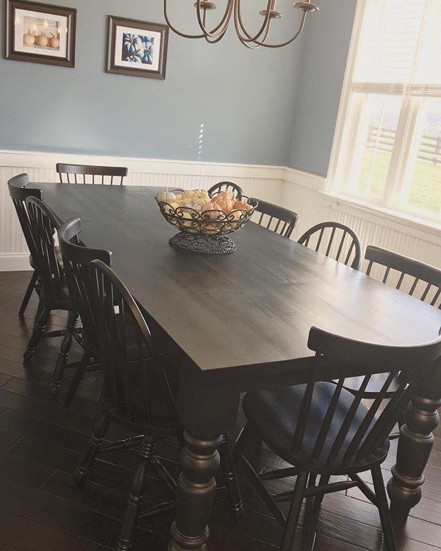 Customer appreciation photo! Curvy leg table in all black