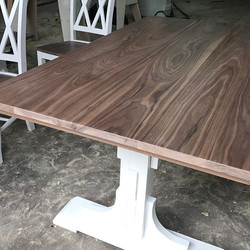 That walnut though! Walnut table top and chair seats! #americanmade #wood #woodwork #woodworking #fa