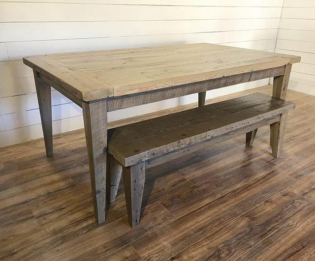 Barnwood tapered leg table with GF flat polyurethane