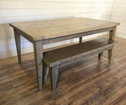 Barnwood tapered leg table with GF flat polyurethane