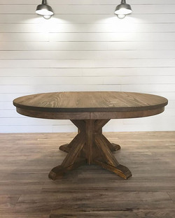 Post and Beam Pedestal oval table in GF antique walnut