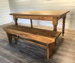 If I had to pick one table to describe farmhouse this would be it.  5 board style bench with a turne