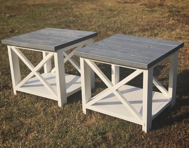 End tables with a weathered grey top and white ash base