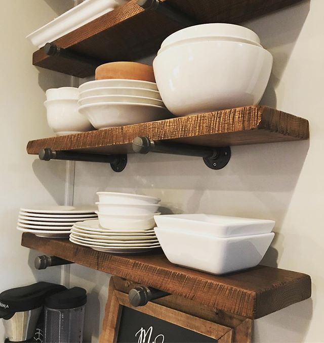 Customer appreciation photo. These circular sawn oak shelves look amazing! Our customers are the bes