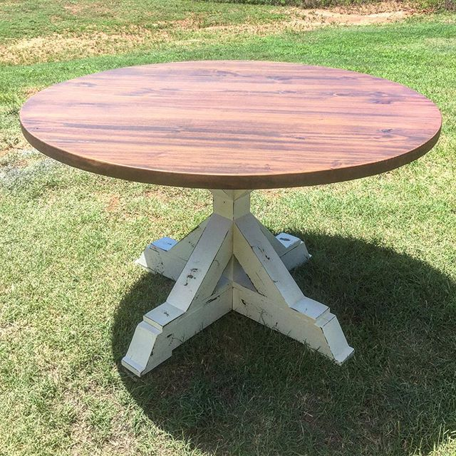 50_ round X pedestal table. This is a new one. It will be offered in 36-60_ rounds