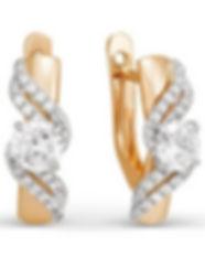 Серьги, золото 585, фианиты