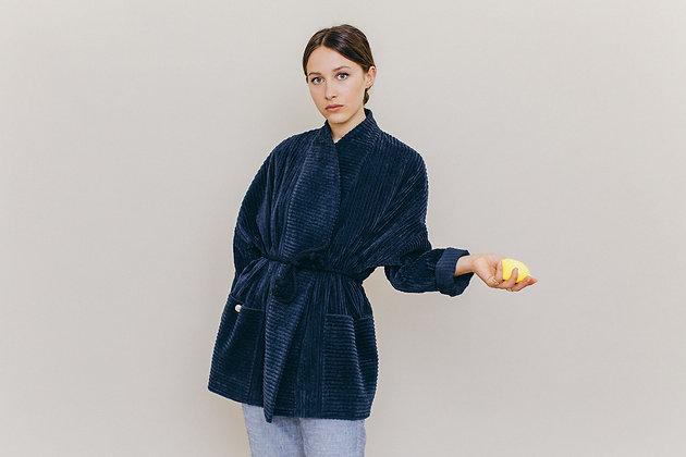 Veste kimono velours marine JUNE Sixsoeurs Fabriquée à Paris