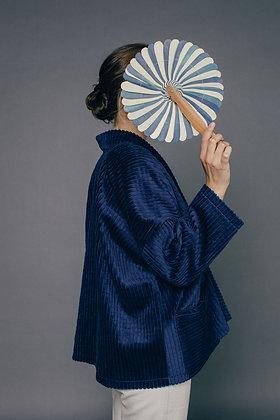 Veste SOLINE velours bleu Sixsoeurs Fabriqué à Paris profil