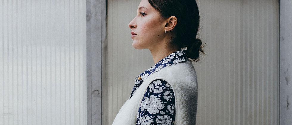 Gilet moumoute laine JENNIFER Sixsoeurs Fabriqué à Paris profil