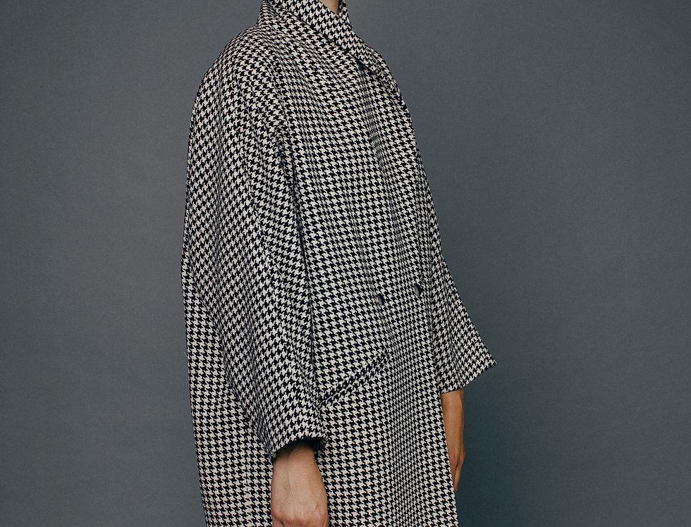 Manteau pied de coq PASCALINE Sixsoeurs Fabriqué à Paris profil