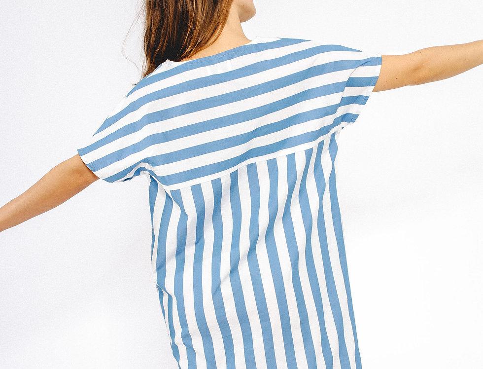 Robe NINA rayures bleues et blanches SIXSŒURS Fabriqué à Paris