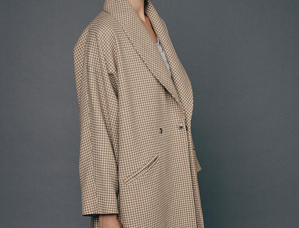 Manteau pied de poule NELLY Sixsoeurs Fabriqué à Paris profil