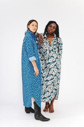 Robe longe LOUISON pois bleus SIXSŒURS Fabriqué à Paris duo mode