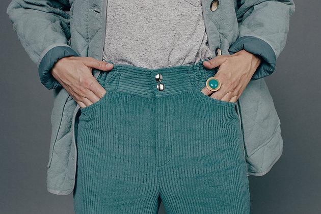 Pantalon velours vert ÉMILIA Sixsoeurs Fabriqué à Paris taille