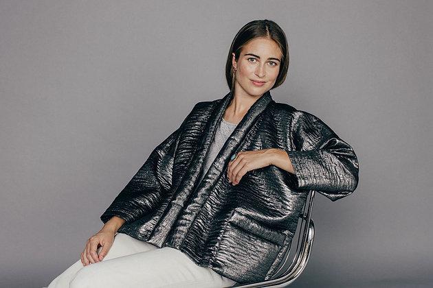 Veste kimono YSÉ argentée Sixsoeurs Fabriqué à Paris