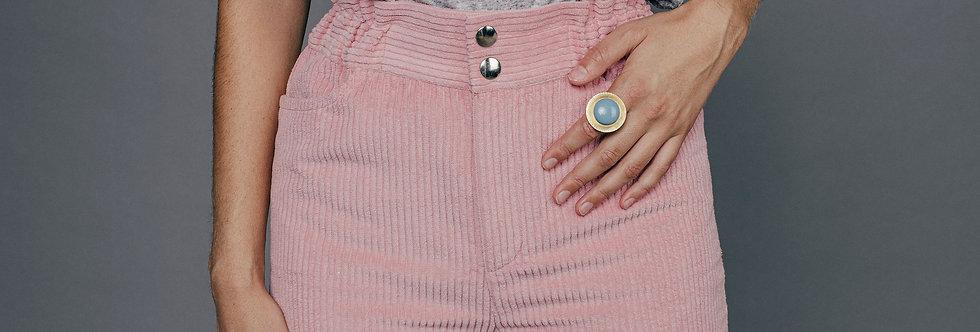Pantalon velours rose LARA Sixsoeurs Fabriqué à Paris taille