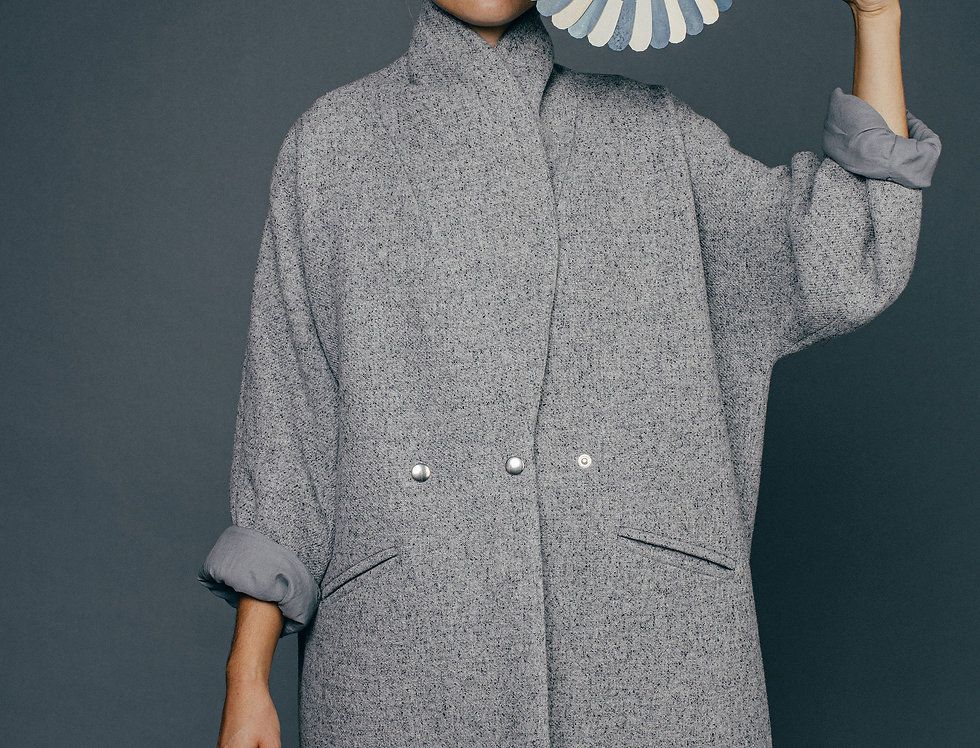 Manteau gris chiné PRISCILLE Sixsoeurs Fabriqué à Paris mode