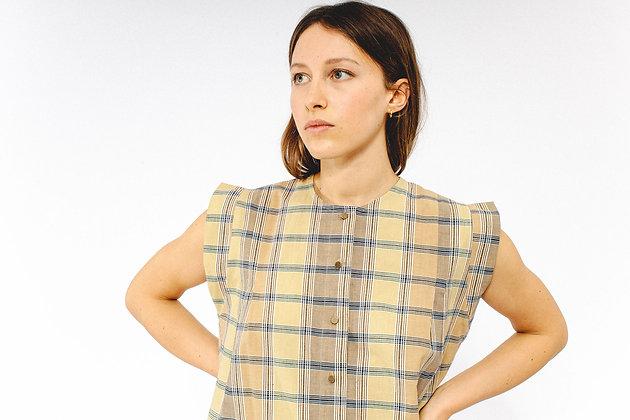 Top OLIVE madras kaki SIXSŒURS Fabriqué à Paris fashion