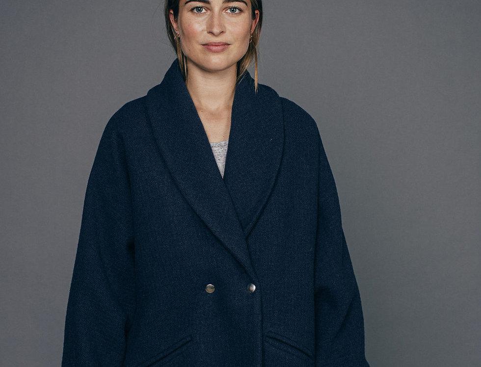 Manteau bleu BASTIENNE Sixsoeurs Fabriqué à Paris face