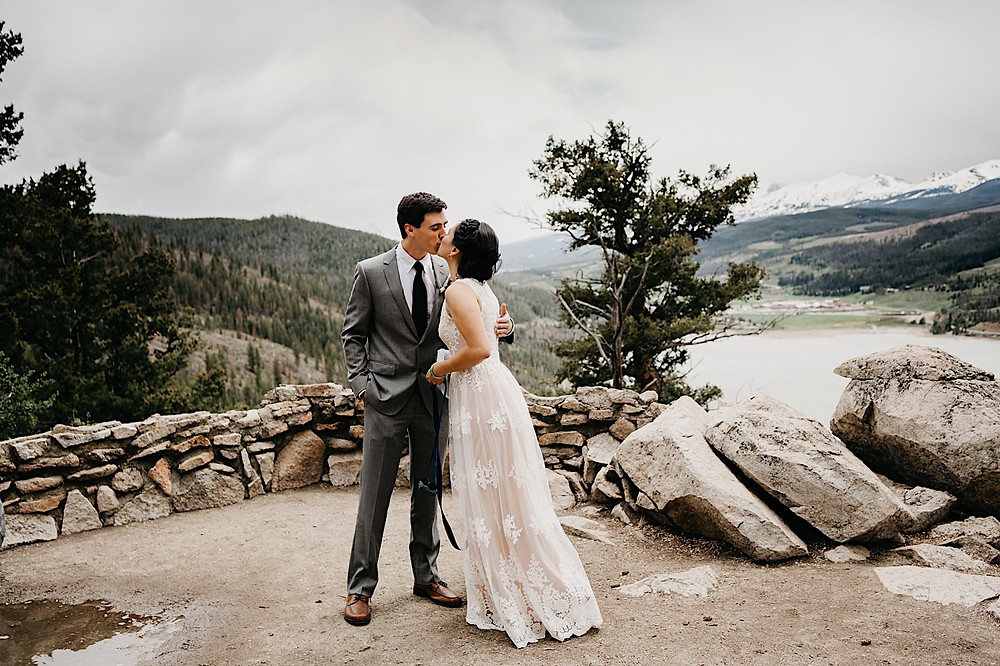 Bride and Groom First Kiss sapphire Point Breckenridge