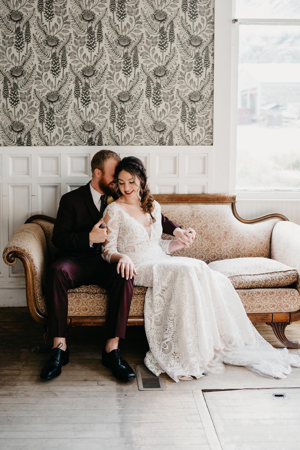Bride and Groom Portraits at Bread bar silver Plume Colorado
