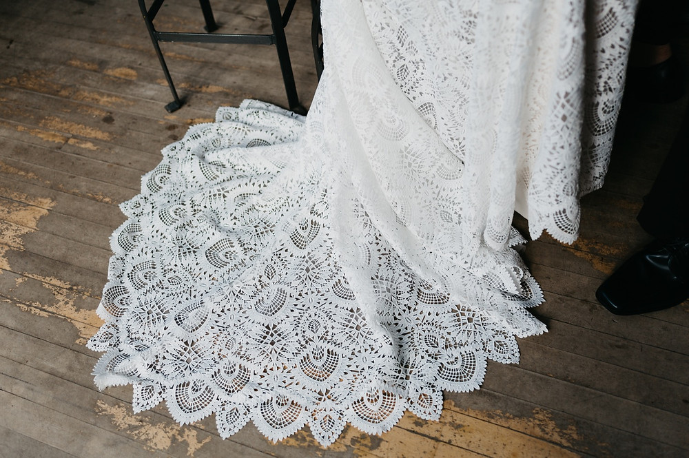 wedding dress details at Bread bar silver Plume Colorado