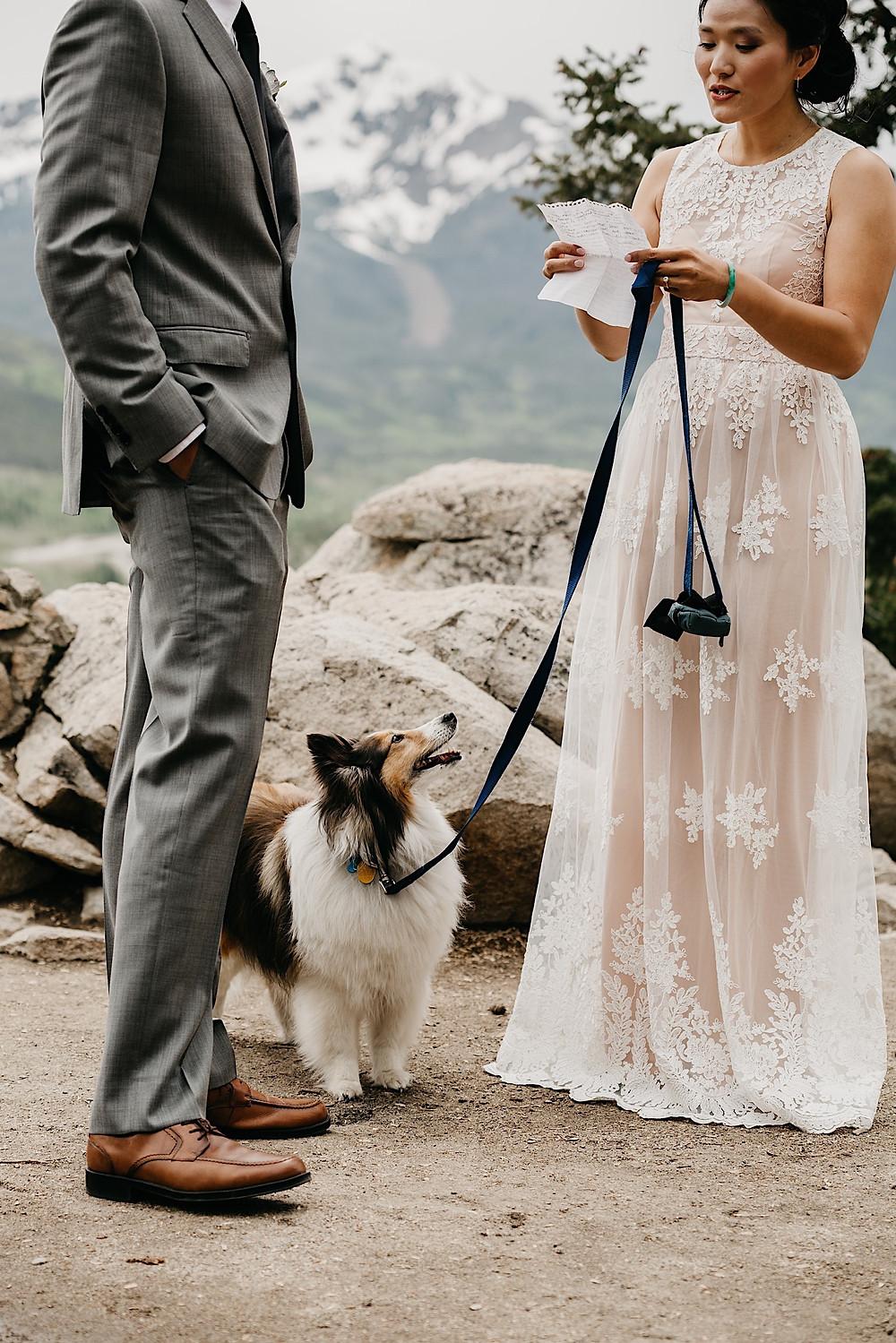 Bride reading vows Sapphire Point Breckenridge