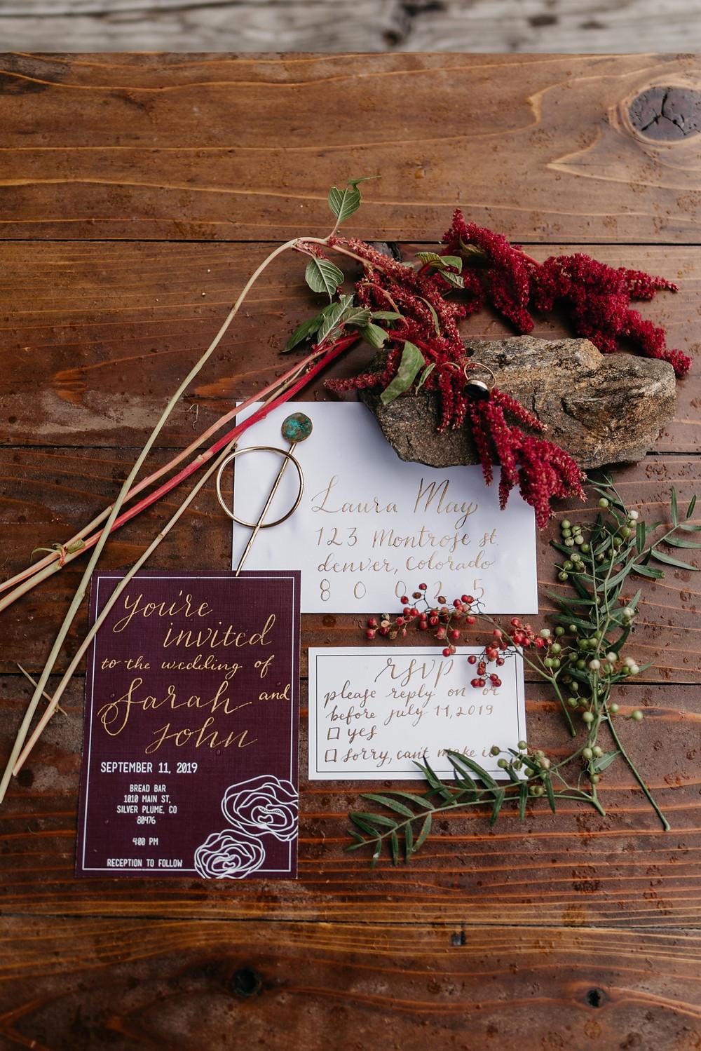 wedding invitation details Bread bar silver Plume Colorado