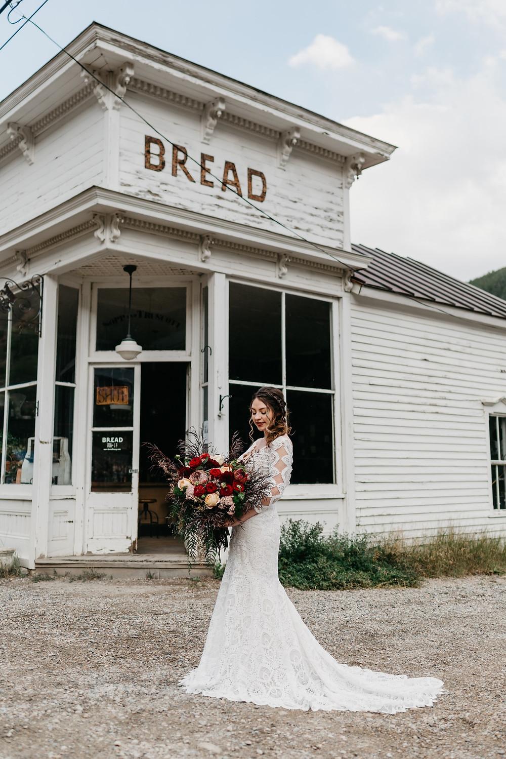 Bride with wedding bouquet at Bread bar silver Plume Colorado