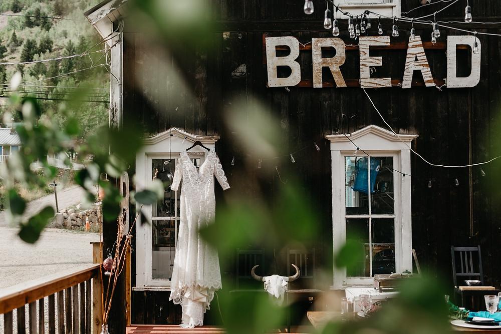 wedding dress details Bread bar silver Plume Colorado