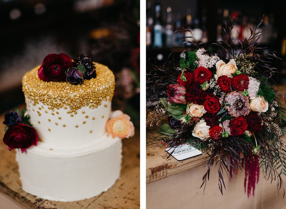 Wedding Cake and Wedding Bouquet at Bread Bar in Silver Plume, CO