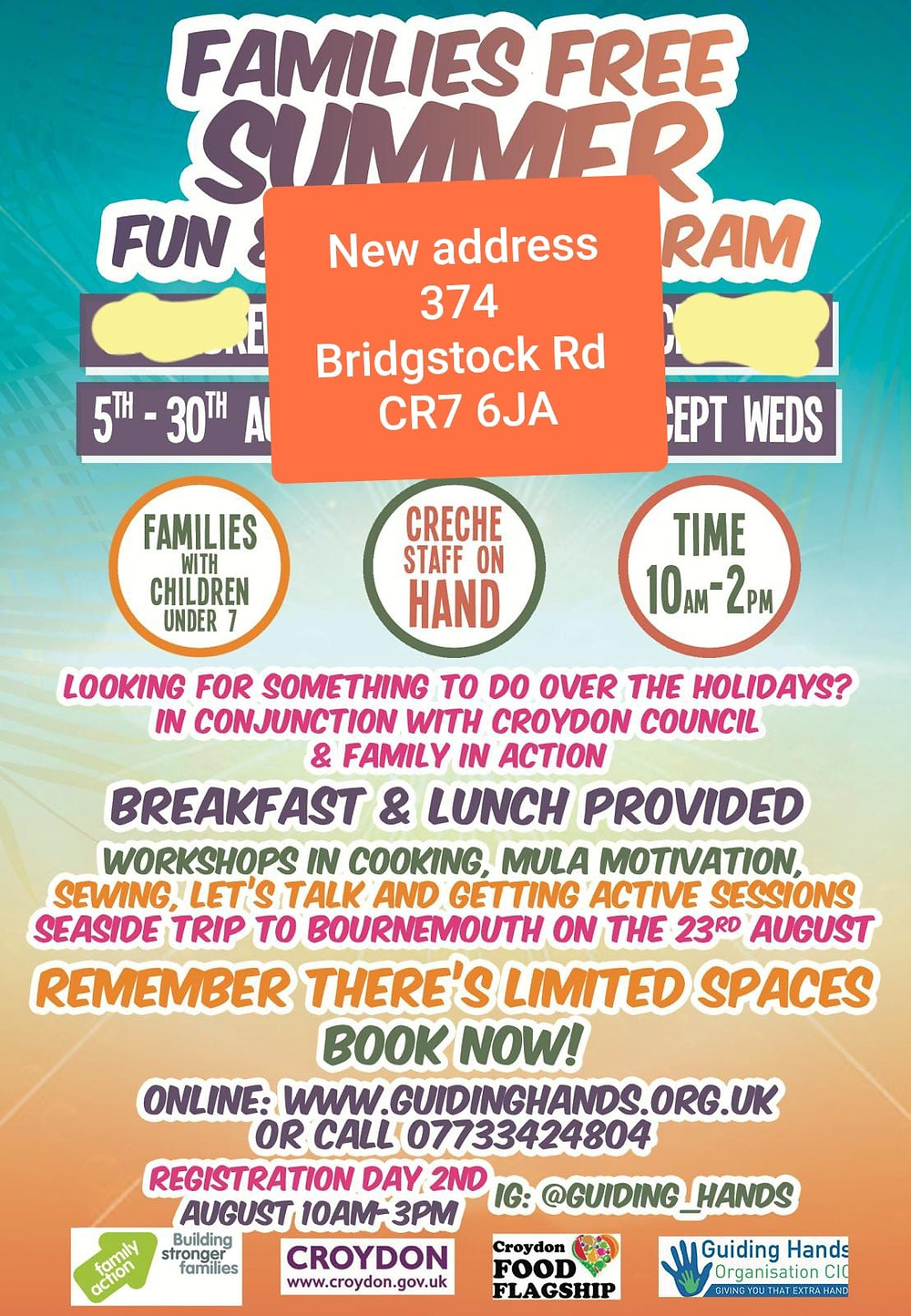 Free Summer Holiday Program for families with children 7 and under.