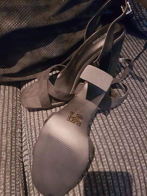Black block heels sandals